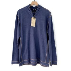 Tommy Bahama Blue 1/4 Zip Reversible Pullover Sz L